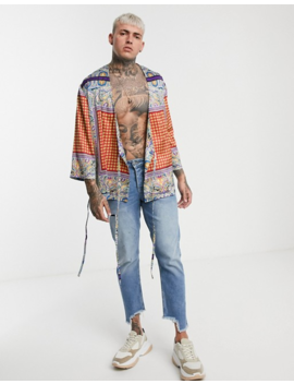 Asos Design Regular Wrap Kimono In Paisley by Asos Design