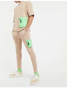 Asos Design Two Piece With Neon Utility Pockets In Beige by Asos Brand