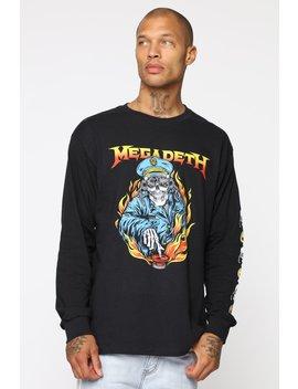 Megadeath Long Sleeve Tee   Black/Combo by Fashion Nova