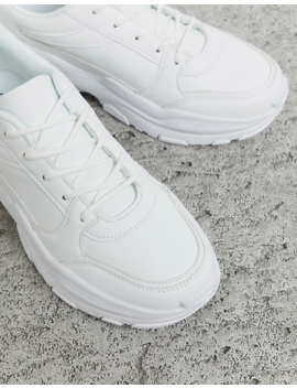 Asos Design Trainers In White Leather Look With Chunky Sole by Asos Design
