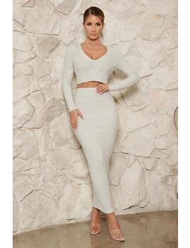 Leilana Ribbed Midi Skirt   Grey Marle by Meshki