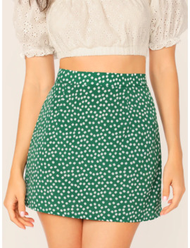 Ditsy Floral Print Skirt by Romwe