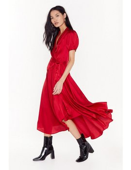 Only Wanna Dance With You Satin Wrap Dress by Nasty Gal