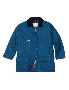 Barbour Edith Waxed Cotton Jacket In Denim Blue by Alexa Chung