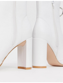Public Desire Thrill White Block Heeled Ankle Boots by Public Desire