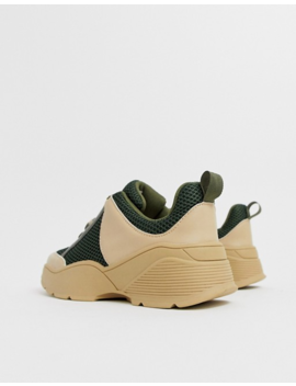 Monki Chunky Sneakers In Khaki And Beige by Monki
