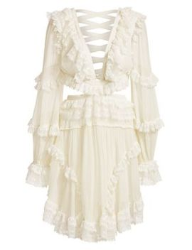 Suraya Lace Trim Cutout Mini Dress by Zimmermann