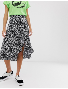 Bershka Ditsy Floral Asymmetric Skirt In Black by Bershka