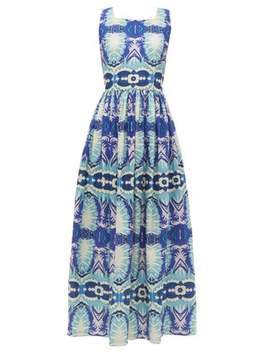 Julia Fish Tail Print Cotton Dress by Le Sirenuse Positano