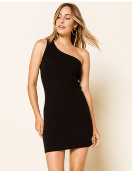 West Of Melrose One Shoulder Ribbed Bodycon Womens Dress by West Of Melrose