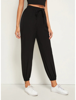 Solid Drawstring Waist Pants by Romwe
