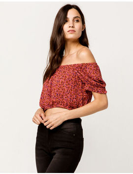 Sky And Sparrow Ditsy Floral Crop Coral Womens Off The Shoulder Top by Sky And Sparrow