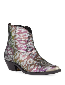 Young Sparkle Snake Print Booties by Golden Goose