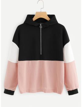 Cut And Sew Color Block Hoodie by Romwe