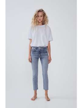 Mid Rise Slim Fit Slouchy Jeans Straight Fit Jeans Woman by Zara