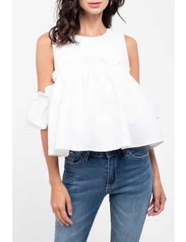 Ruffled Cold Shoulder Poplin Top by J.O.A.