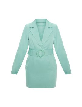 Dusty Turquoise Ring Belt Blazer Style Dress by Prettylittlething