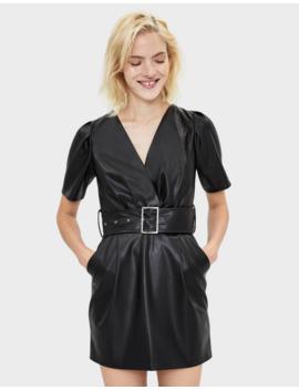 Deri Efektli Elbise by Bershka