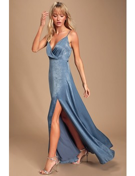 Constantine Slate Blue Satin Maxi Dress by Lulus
