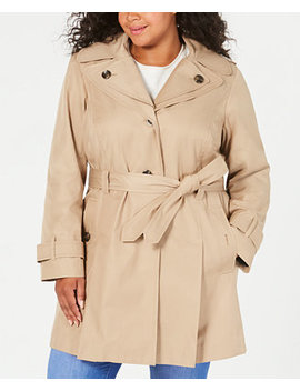 Plus Size Hooded Belted Raincoat by General
