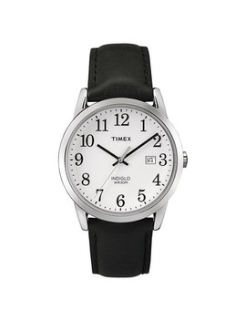 Men's Timex Easy Reader® Watch With Leather Strap   Silver/Black Tw2 P756009 J by Silver/Black Tw2 P756009 J