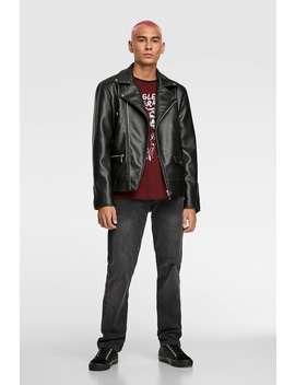 Faux Leather Biker Jacket Faux Leather Jackets Man by Zara