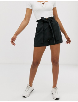 Monki Tie Waist Shorts In Black by Monki