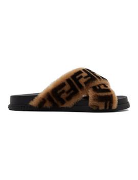 Black Shearling 'forever Fendi' Slides by Fendi