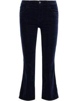 Selena Cotton Blend Velvet Kick Flare Pants by J Brand