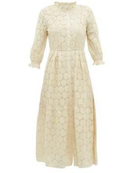 Suenos Cotton Blend Broderie Anglaise Midi Dress by Apiece Apart
