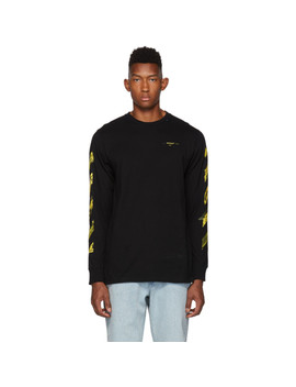 Ssense Exclusive Black & Yellow Painted Arrows Long Sleeve T Shirt by Off White
