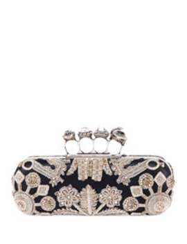 Jewelled Four Ring Clutch W/ Crystal Embroidered Swans by Alexander Mc Queen