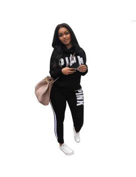 Women Word Letter Print Sweatshirt Long Pant 2 Piece Outfits Cowl Fashion Neck Pink Letter Tracksuits Autumn Clothing Set Black by Ali Express.Com