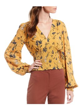Abby Floral Print V Neck Bishop Sleeve Smocked Waist Blouse by Gianni Bini