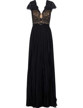 Nessie Satin Trimmed Lace And Silk Chiffon Gown by Catherine Deane