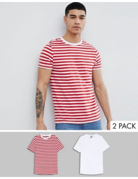 Asos Design Organic Cotton Red Stripe/Plain White T Shirt 2 Pack Save by Asos Design