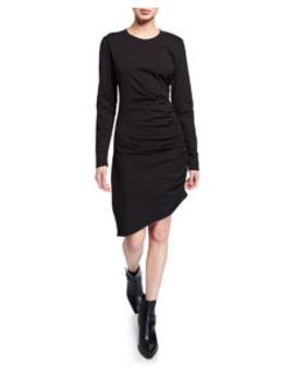 Jaelyn Ruched Long Sleeve Asymmetric Dress by Veronica Beard