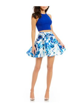 Solid Top With Floral Skirt Two Piece Dress by B. Darlin