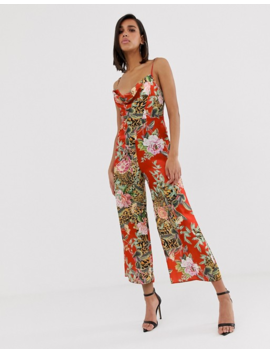 Asos Design Satin Cowl Neck Jumpsuit In Floral Print by Asos Design