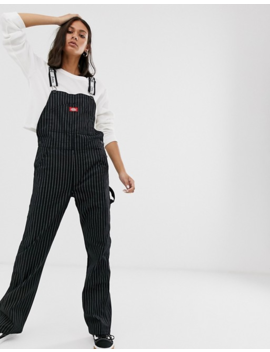 Dickies Girl Overalls With Logo Taping In Pinstripe by Overalls