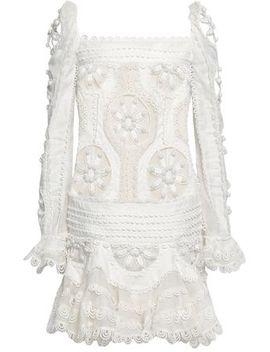 Appliquéd Cutout Linen And Silk Blend Mini Dress by Zimmermann