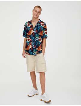 Turquoise Viscose Printed Shirt by Pull & Bear