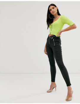 Parallel Lines Leather Look Slim Biker Pants With Multiple Zip And Button Detail In Black by Parallel Lines