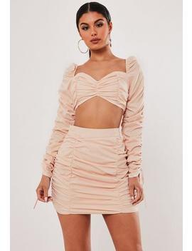 Stassie X Missguided Blush Co Ord Ruched Milkmaid Top by Missguided