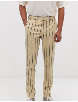 Heart &Amp; Dagger Skinny Smart Pants In Stone Pinstripe by Heart & Dagger