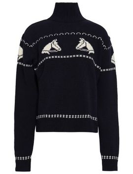 Wool Jacquard Turtleneck Sweater by Alexachung