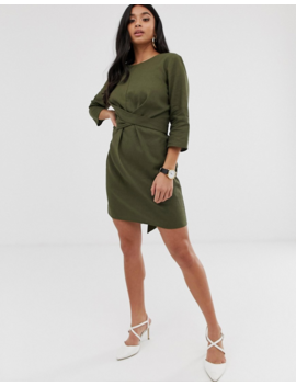 Asos Design Petite Tie Wrap Around Mini Dress In Linen by Asos Design