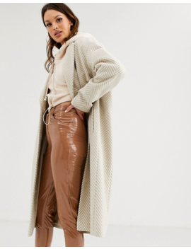 Asos Design Tall Textured Longline Coat In Cream by Asos Design