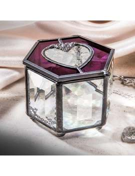 Valentine Heart Box Purple Stained Glass Jewelry Display Box Keepsake Box Jewelry Storage Gift For Her Trinket Box 778 2 by Etsy