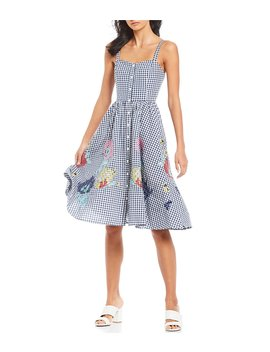 Lavande Embroidered Gingham Dress by French Connection